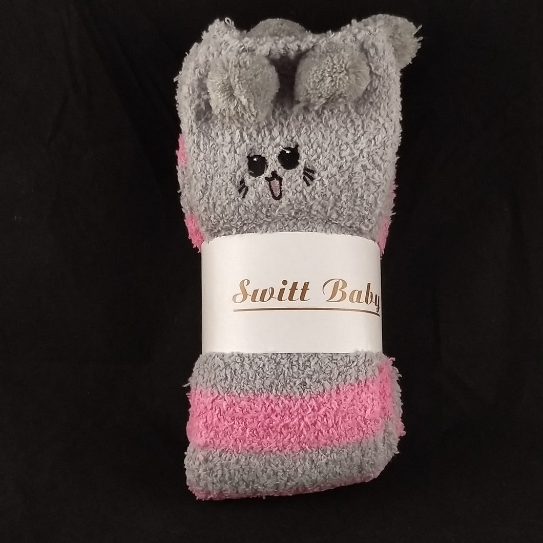 CAT PINK & GREY KNEE HIGH SOCKS