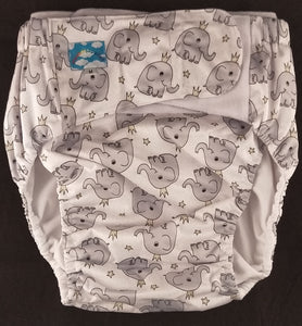 Elephants Modern Washable Diaper MED - myabdlsupplies