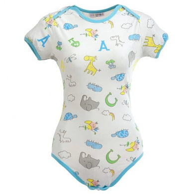 Giraffe and Zoo Animals Onesie Bodysuit LRG - myabdlsupplies
