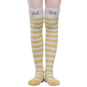 Cute Animal Coral Fleece Thigh High Socks 2 Pack- Sheep Color & Cat Yellow - myabdlsupplies