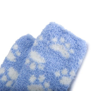 Cute Coral Fleece Thigh High Long Paws Pattern Socks 2 Pairs-Blue Paws - myabdlsupplies