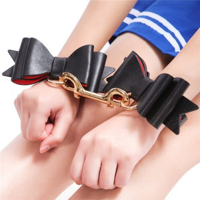 Prettybows Soft Lamb Leather Wrist Cuffs Set – Black/Red Leather & Golden Alloy - myabdlsupplies