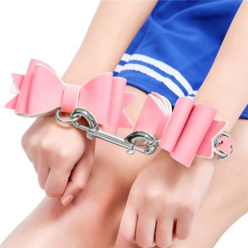 Prettybows Soft Lamb Leather Wrist Cuffs Set – Pink/White Leather & Silver Alloy - myabdlsupplies
