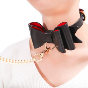 Prettybows Soft Lamb Leather Collar Leash Set – Black/Red Leather & Golden Alloy - myabdlsupplies