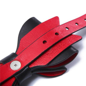Prettybows Soft Lamb Leather Collar Leash Set – Black/Red Leather & Silver Alloy - myabdlsupplies