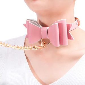 Prettybows Soft Lamb Leather Collar Leash Set – Pink/White Leather & Gold Alloy - myabdlsupplies