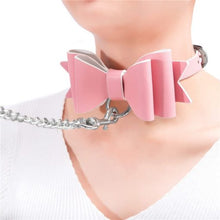 Prettybows Soft Lamb Leather Collar Leash Set – Pink/White Leather & Silver Alloy - myabdlsupplies