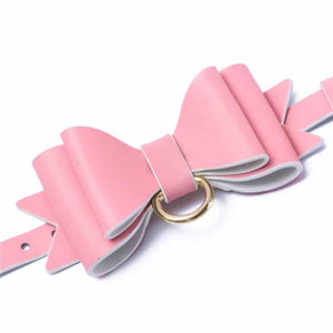 Prettybows Soft Lamb Leather Wrist Ankle Cuffs & Collar Leash Set – Pink/White Leather & Golden Alloy - myabdlsupplies