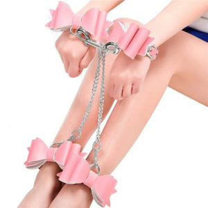 Prettybows Soft Lamb Leather Wrist Ankle Cuffs & Collar Leash Set – Pink/White Leather & Silver Alloy - myabdlsupplies