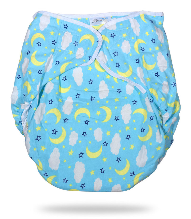 Omutsu Bulky Nighttime Adult Cloth Diaper - Blue Clouds M/L - myabdlsupplies