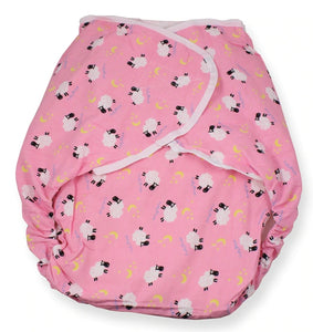 Omutsu Bulky Nighttime Cloth Diaper - Pink Sheep M/L - myabdlsupplies