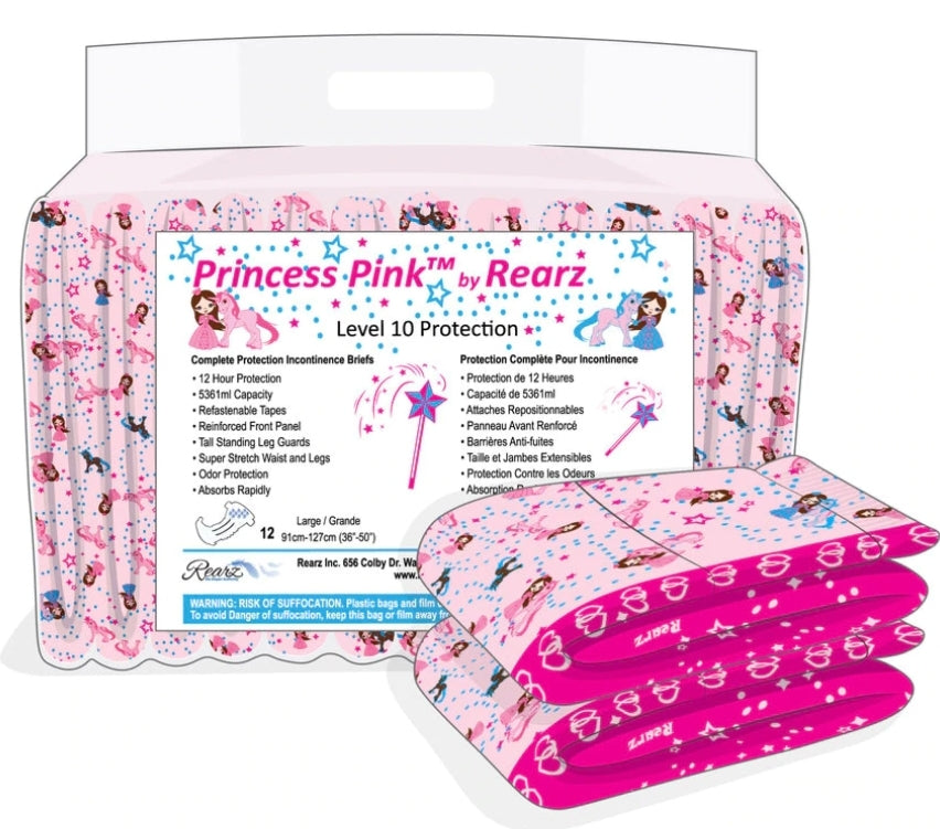 Rearz Princess Pink Nighttime Briefs Pack LRG - myabdlsupplies