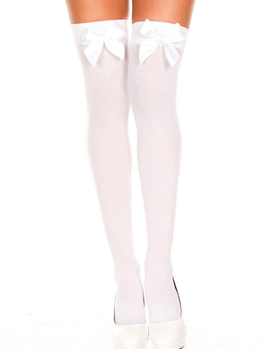 White Bow Stockings - myabdlsupplies