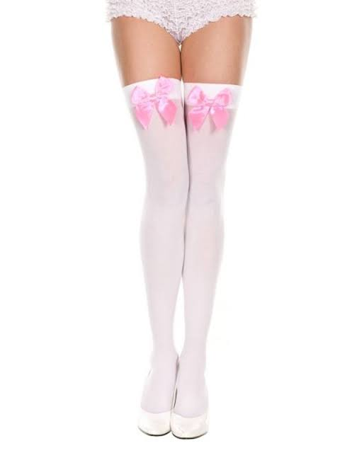 STOCKING WHITE PINK BOW - myabdlsupplies