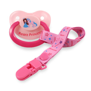 Princess Pink Pacifier and Clip