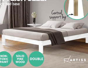 Good Double  Wooden Bed Base Frame Without Bedhead, Jaiden Colection