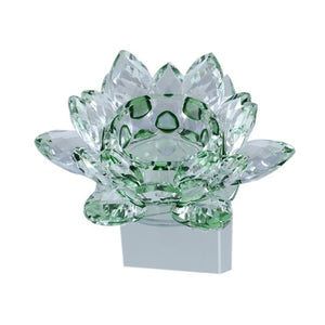 Crystal Glass Block Lotus Flower Candle Holders Feng Shui Home Decor