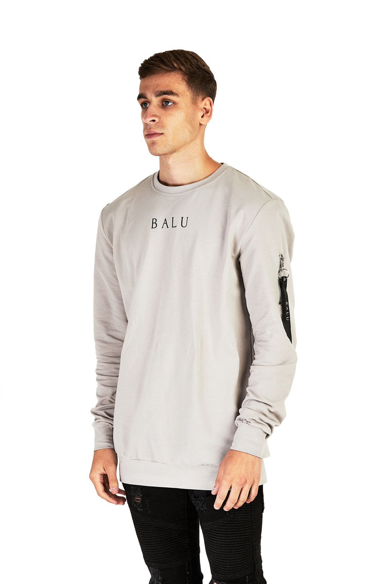 Stone Grey MA1 Sweatshirt - Balu Clothing