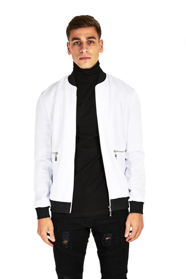 White Smart Bomber Jacket - Balu Clothing
