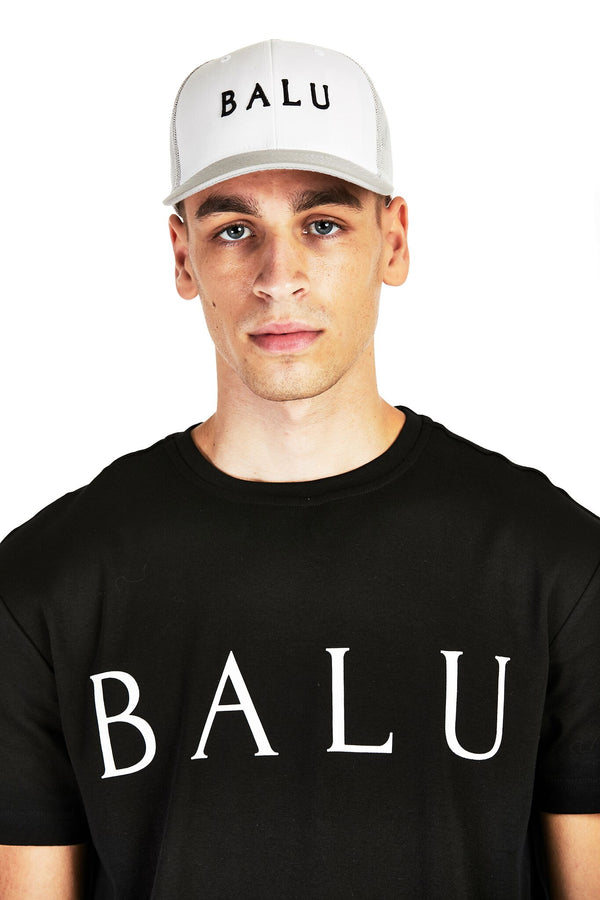 Grey & White Retro Trucker - Balu Clothing