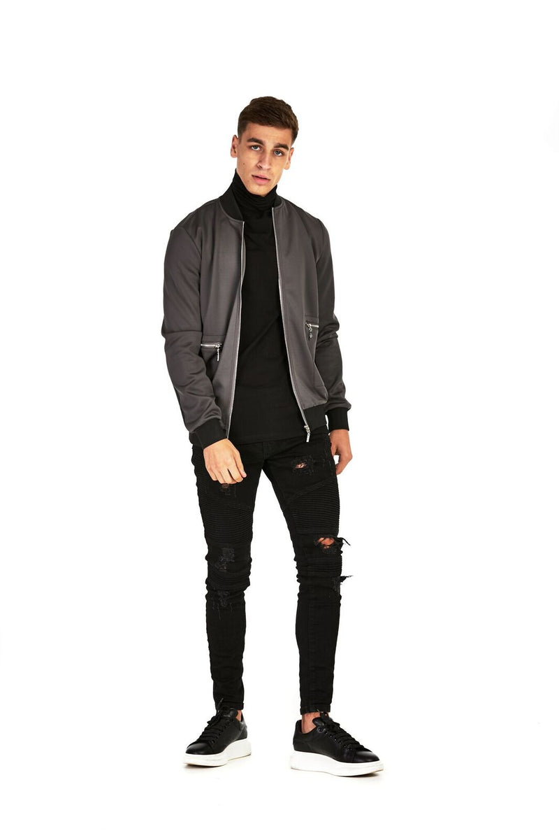 Grey Smart Bomber Jacket - Balu Clothing