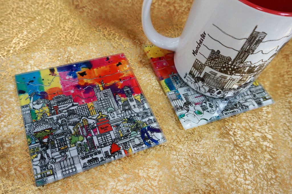 Glass Coasters Set of 2 - Manchester Skyline - Colour