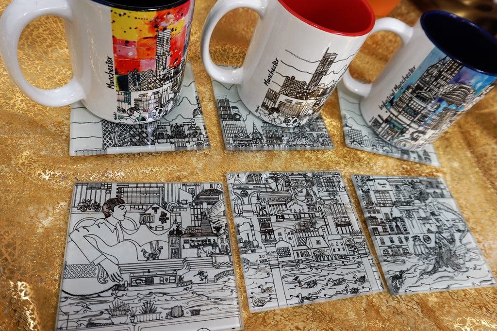 Glass Coasters Set of 6 - Manchester Skyline - B&W