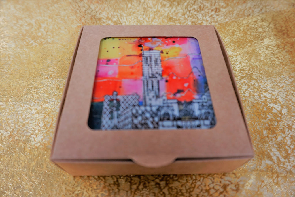Glass Coasters Set of 6 - Manchester Skyline - Colour