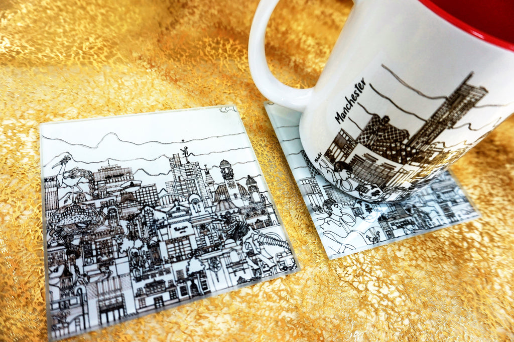 Glass Coasters Set of 2 - Manchester Skyline - B&W