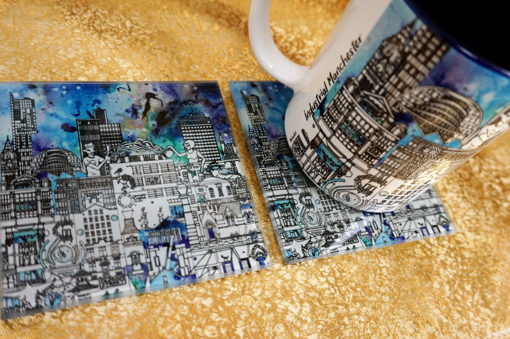 Glass Coasters Set of 2 - Industrial Manchester Skyline - Colour