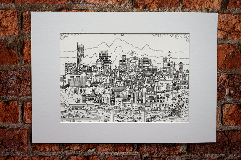 Manchester Skyline - Mounted Art Print