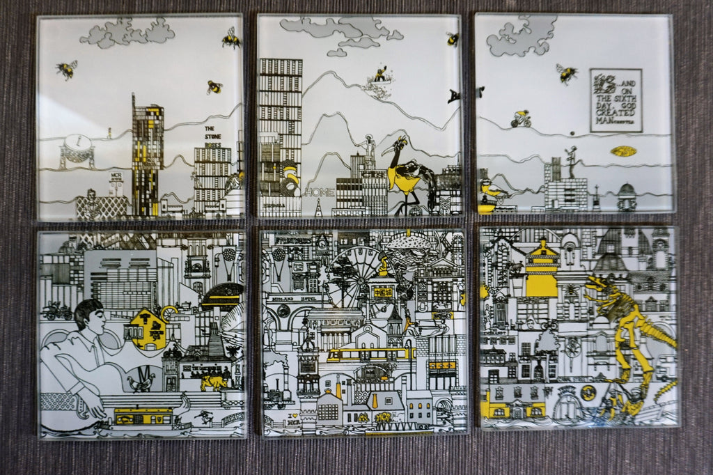 Glass Coasters Set of 6 - Manchester Skyline - Black, Grey, Yellow