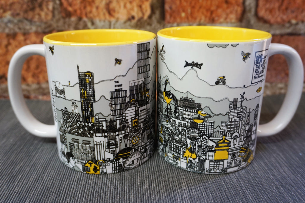 Manchester Skyline Mug - Black, Grey & Yellow