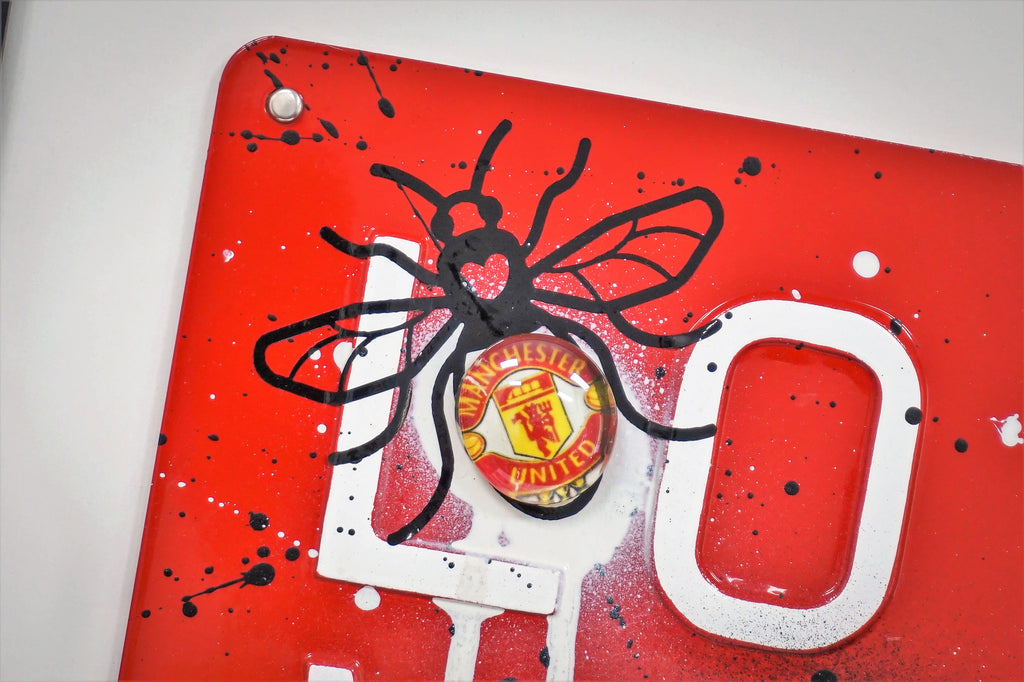 Manchester Love Glass Art - We Are United Graffiti
