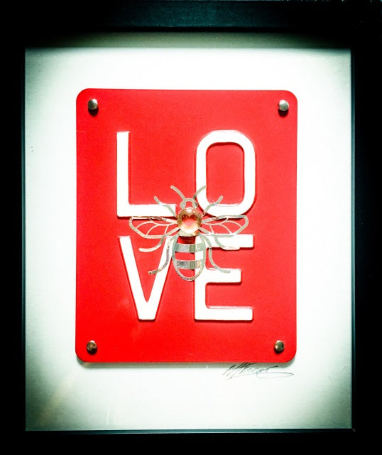 Manchester Love Glass Art - Silver Bee