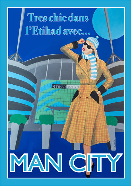 Retro Poster Art - Man City