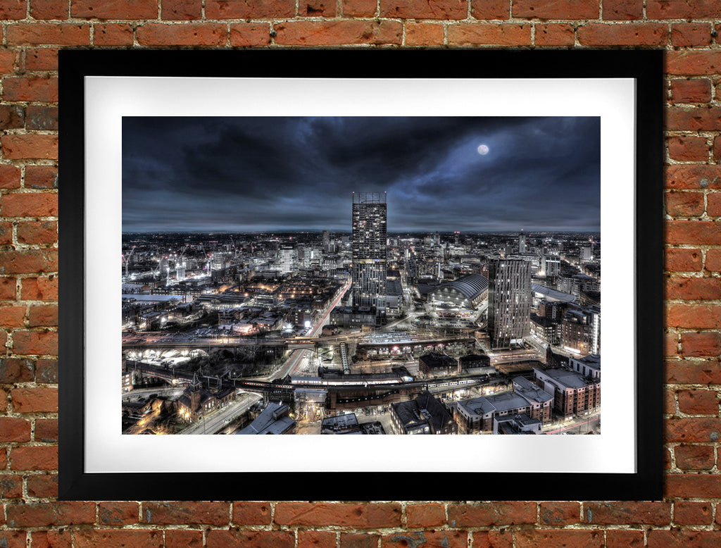 Manchester Skyline Moonlight
