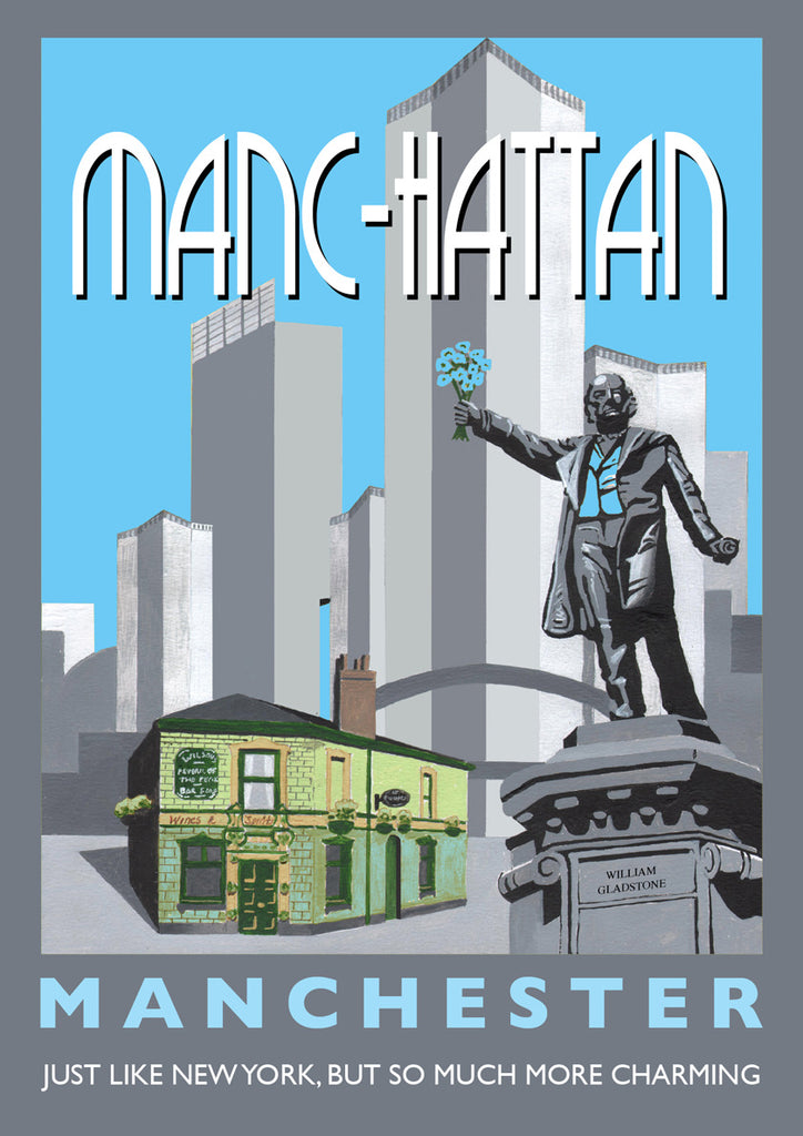 Retro Poster Art - Manc-hattan Blue