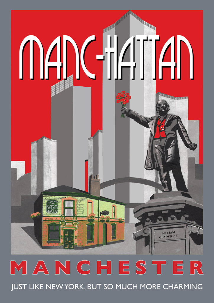 Retro Poster Art - Manc-hattan Red