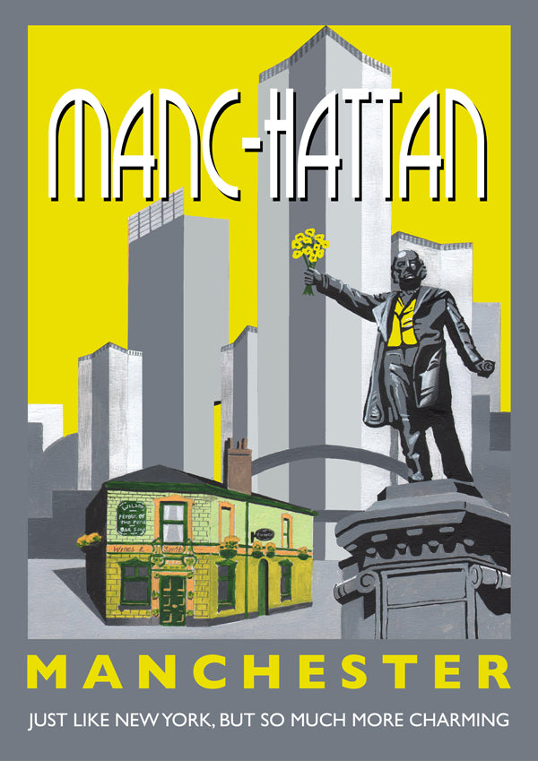 Retro Poster Art - Manc-hattan Yellow