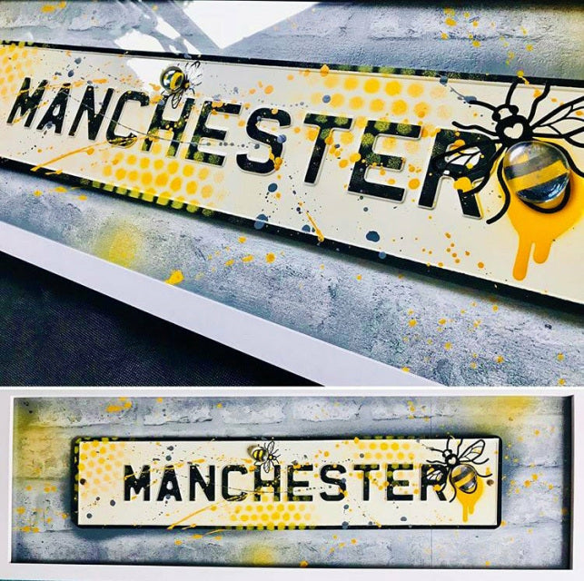 Street Sign Art - Manchester GreyYellow