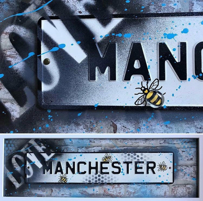 Street Sign Art - Love Manchester Grey/Blue