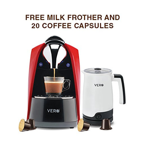 VERO | Package Deal | Red Capsule Coffee Machine, White Milk Frother & 20 VERO Coffee Capsules