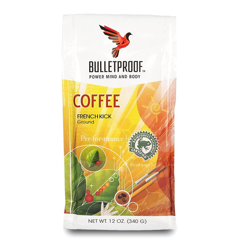 French Kick Dark Roast Ground : Bulletproof - French Kick Dark Roast Ground Coffee, Smooth and Sweet with Pleasantly Smoky Baking Chocolate Notes (12 Ounces)