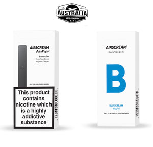 Airscream AirsPops Starter Kit (with Blue cream Pods Pack) - Australia Vape Company