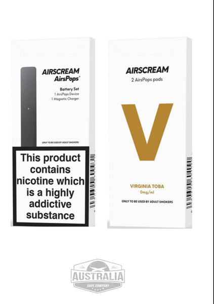 AIRSCREAM AirsPops Starter Kit (with Virginia Toba Pods Pack) - NEW LOOK - Australia Vape Company
