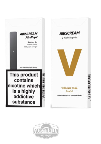 AIRSCREAM AirsPops Starter Kit (with Virginia Toba Pods Pack) - NEW LOOK