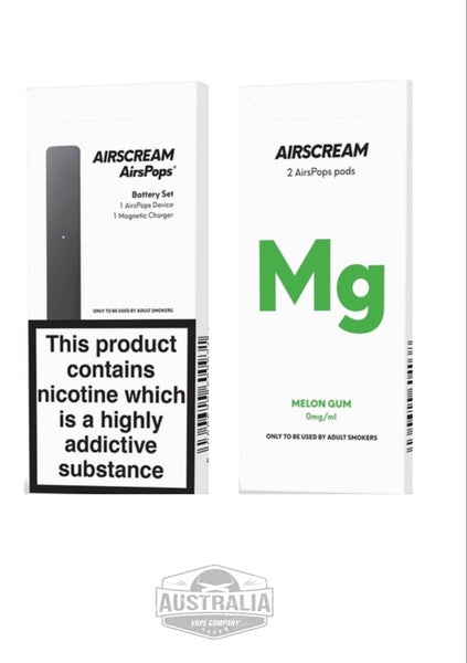 AIRSCREAM AirsPops Starter Kit (with Melon Gum Pods Pack) - NEW LOOK - Australia Vape Company