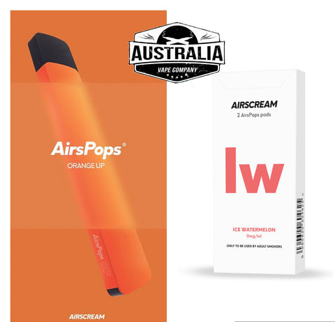 Airscream AirsPops Starter Kit ORANGE (with Ice Watermelon Pods Pack) - NEW LOOK