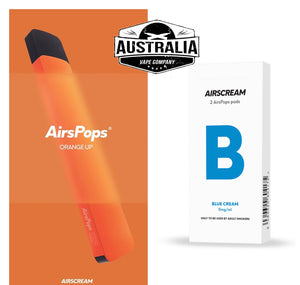 Airscream AirsPops Starter Kit ORANGE (with Blue Cream Pods Pack) - NEW LOOK - Australia Vape Company